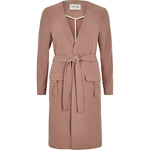 Brown belted duster coat