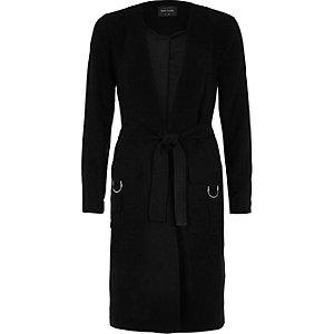 Black belted duster coat