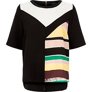 Black colour block top
