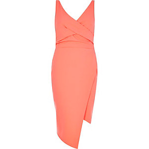 Fluro coral wrap bodycon dress