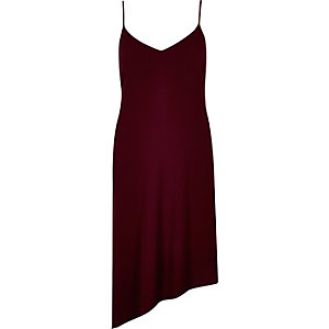 Dark red asymmetric slip dress