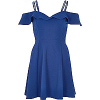 Blue frilly bardot dress