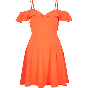 Orange frilly bardot dress