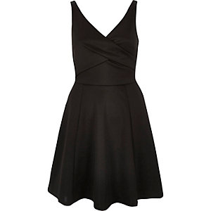 Black wrap skater dress