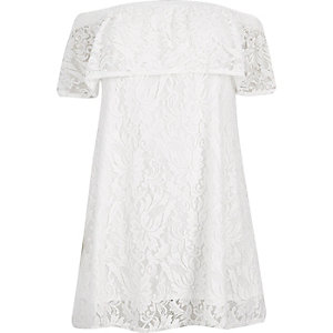 RI Plus white lace bardot swing dress