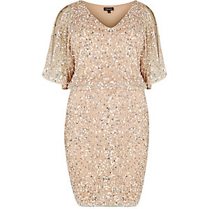 RI Plus nude embellished kimono dress