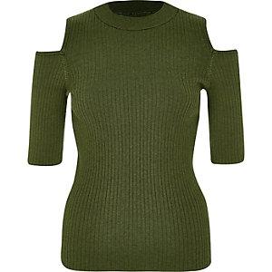 Khaki knit cold shoulder top