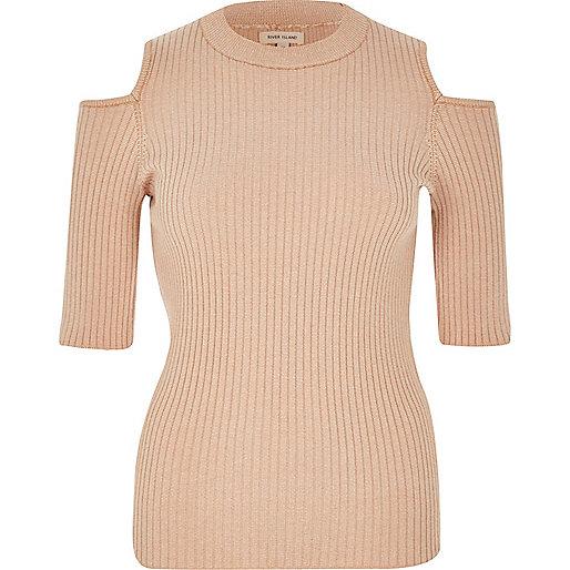 Light pink knit cold shoulder top