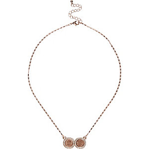 Rose gold double coin necklace