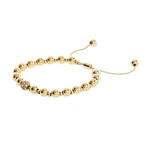 Gold tone adjustable beaded bracelet