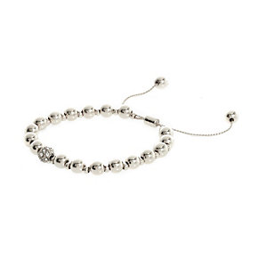 Silver tone adjustable beaded bracelet