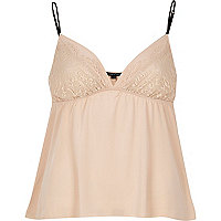 Light pink lace detail cami pajama top