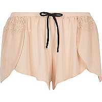 Light pink lace detail pajama shorts