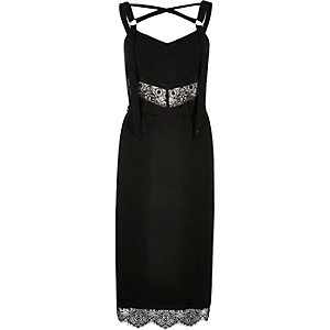 Black lace trim tied slip dress