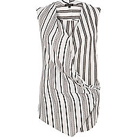 Black stripe wrap front sleeveless blouse