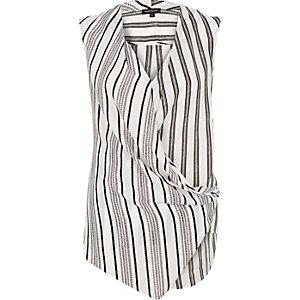 Black stripe wrap front sleeveless blouse