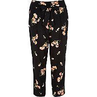 Pantalon court à fleurs noir fuselé