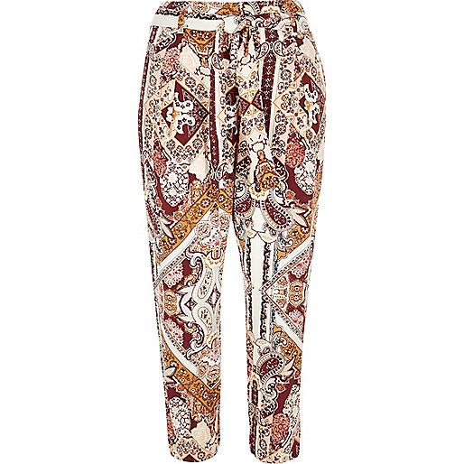 Pantalon fuselé imprimé cachemire rose