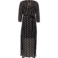 Black print flowing maxi dress