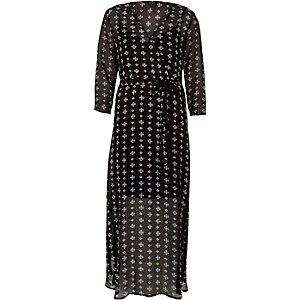 Black print flowing maxi dress