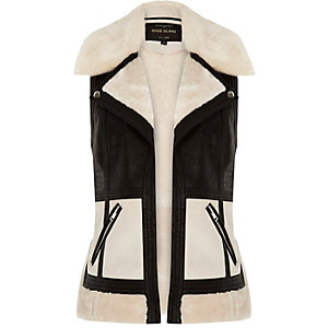 Light cream colour block gilet