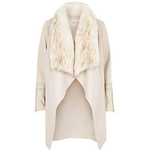 Cream faux fur collar jacket