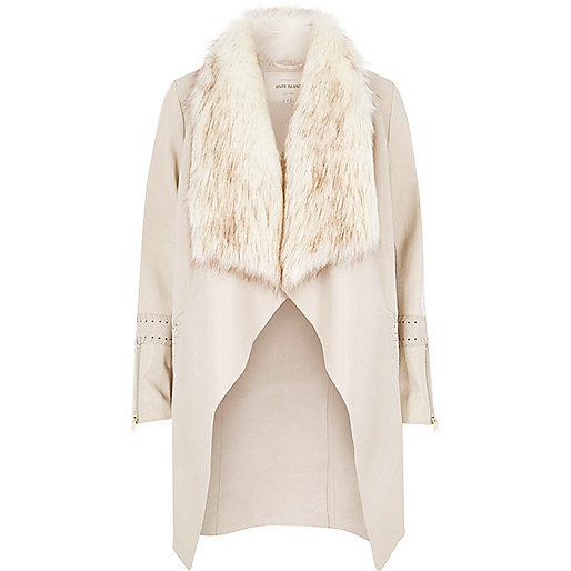 Cream faux fur collar jacket