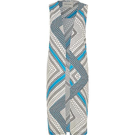 Veste longue sans manches à imprimé aztèque bleue