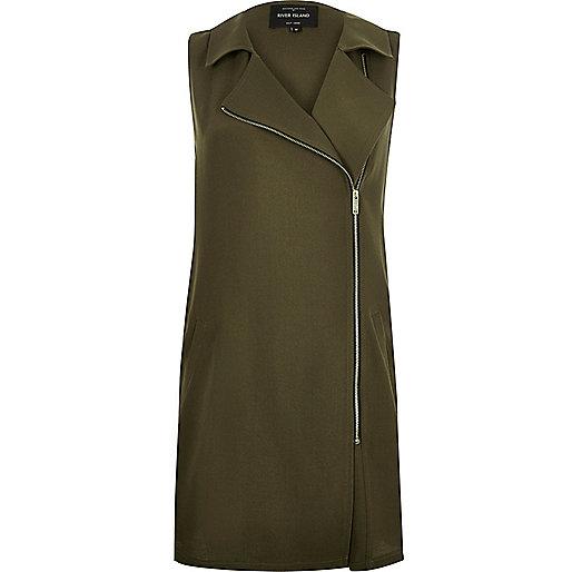 Khaki longline sleeveless jacket