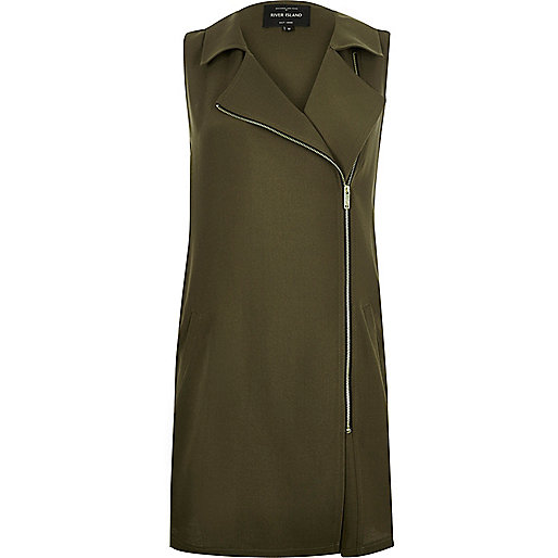 Khaki longline sleeveless jacket