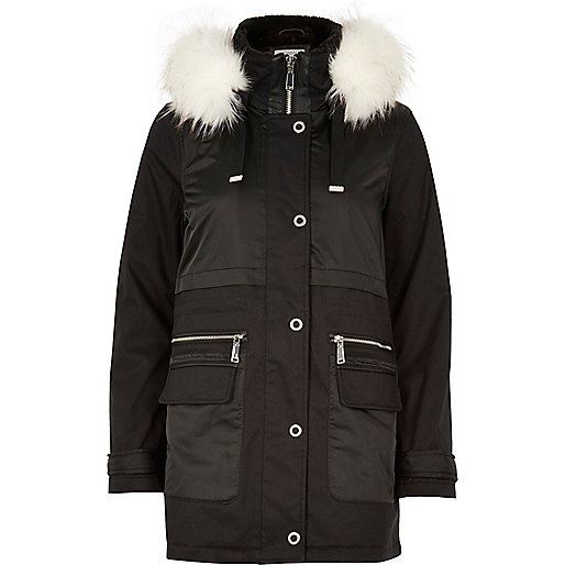 Black eyelet faux fur trim parka