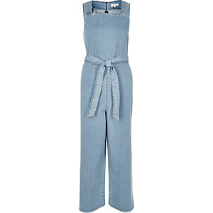 Light wash denim belted jumpsuit