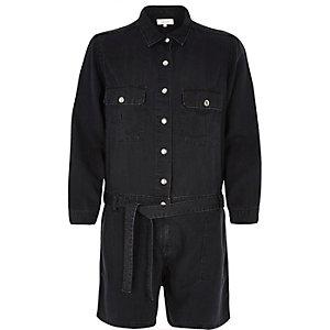 Black washed belted playsuit