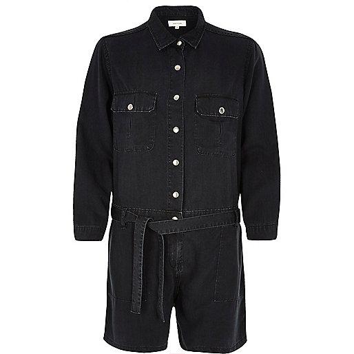 Combi-short noir délavé à ceinture