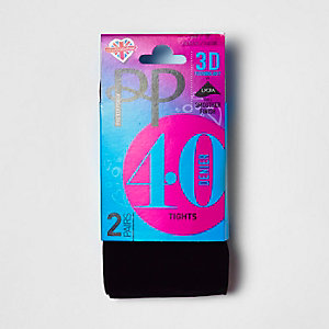Pretty Polly black 40 denier tights pack