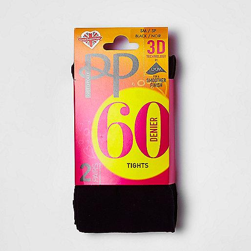 Pretty Polly black 60 denier tights pack