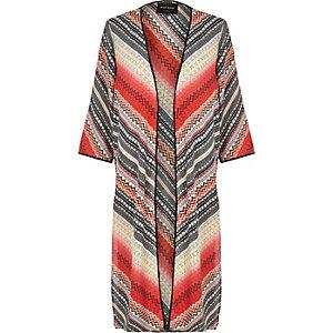 Red Aztec print longline kimono