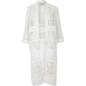 Cream lace embellished kimono