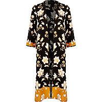 Black floral print longline kimono