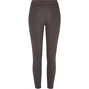 Grey denim look high rise leggings