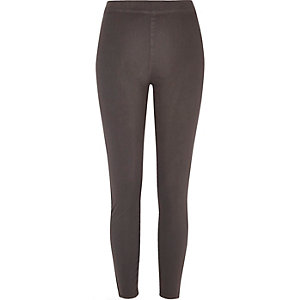 Grey denim look high rise leggings