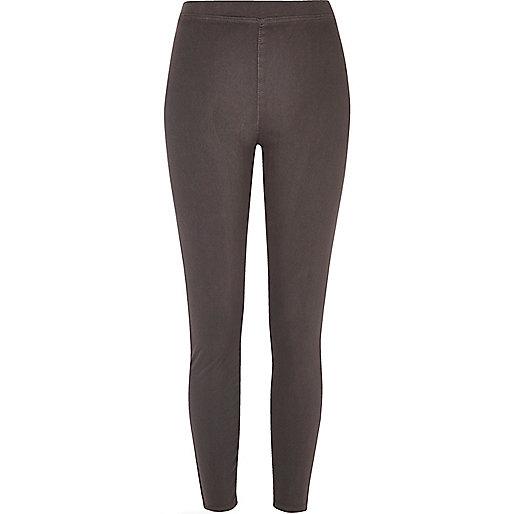 Legging imitation jean gris à taille haute