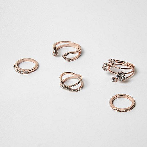 Rose gold diamanté rings pack