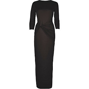 Black knot waist maxi dress