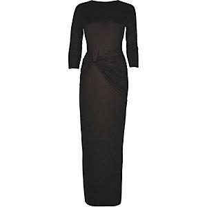 Black knot waist maxi dress