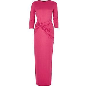 Pink knot waist maxi dress