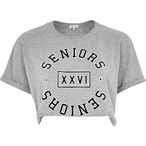 Grey seniors slogan cropped t-shirt