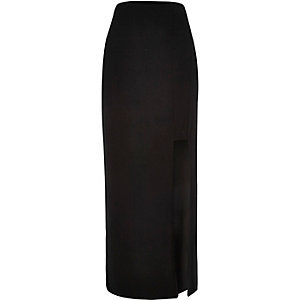 Black split jersey maxi skirt