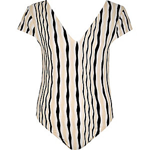Cream stripe bodysuit