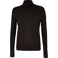 Black split back roll neck top